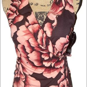 My Michelle Dresses - NWT- Floral Ruffled V Neck Wrap Dress